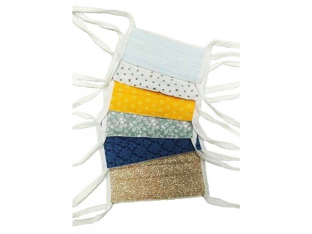 Rouška pro dítě dvouvrstvá čtyři tkaničky