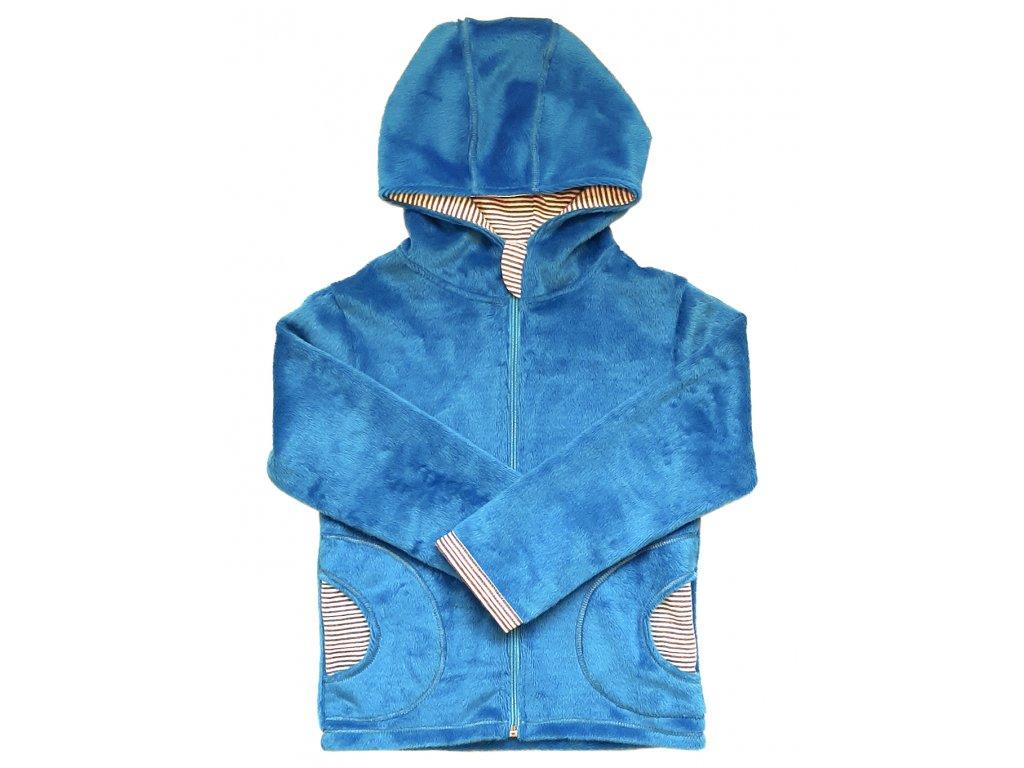 Mikina velur sv.modrá kapuce